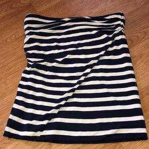 Cabi Tube Top Navy Blue Striped Small